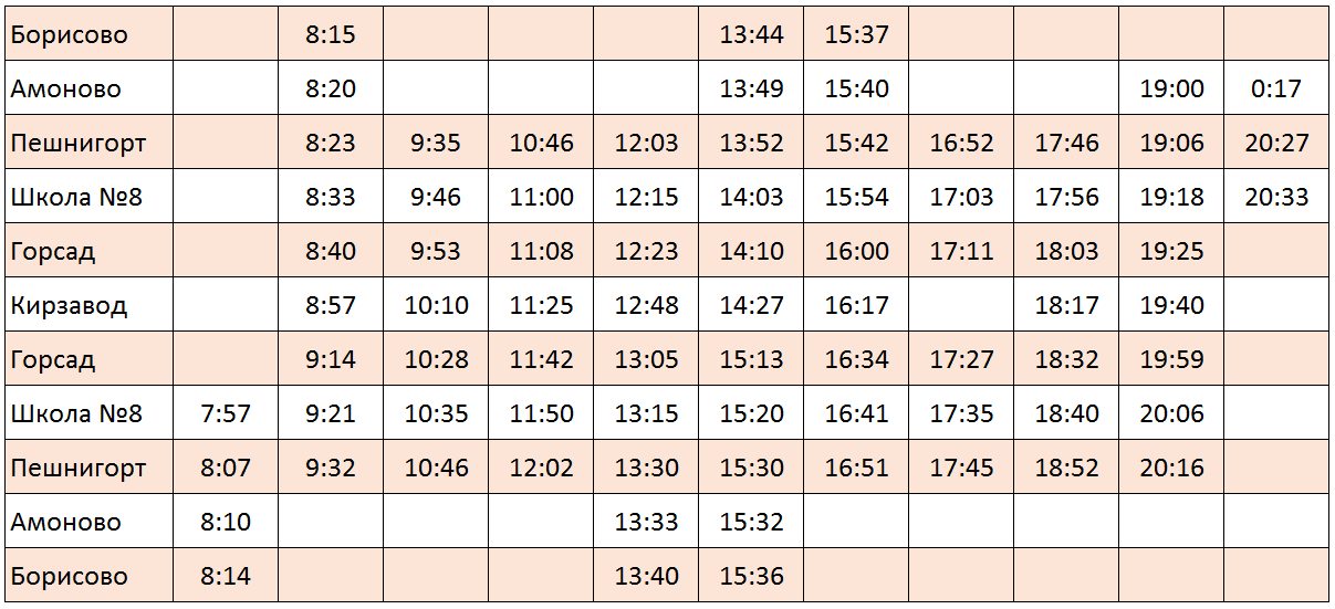 Расписание автобуса Борисово Кирзавод 523