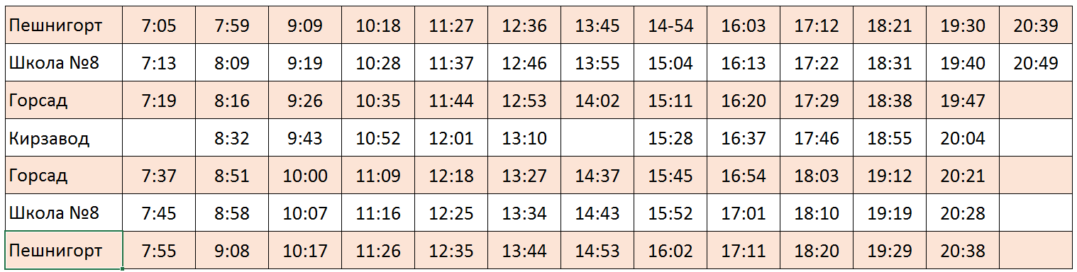 Расписание автобуса пешнигорт - кирзавод
