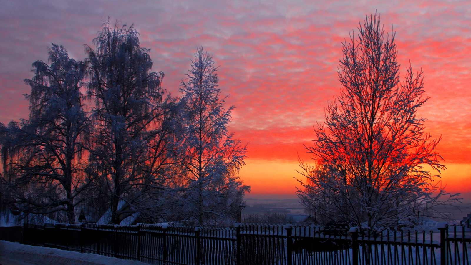 Закат зимой в Кудымкаре