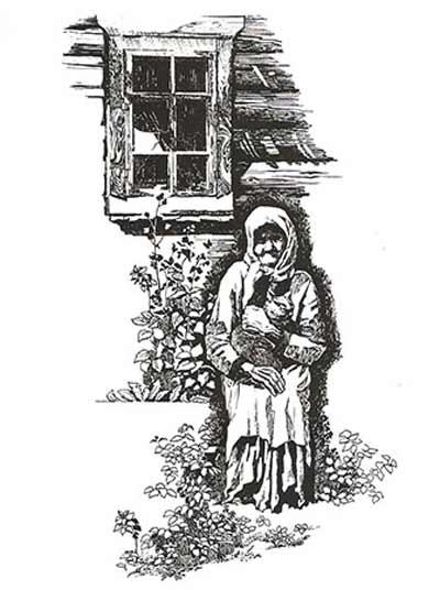 Бабушка с косой