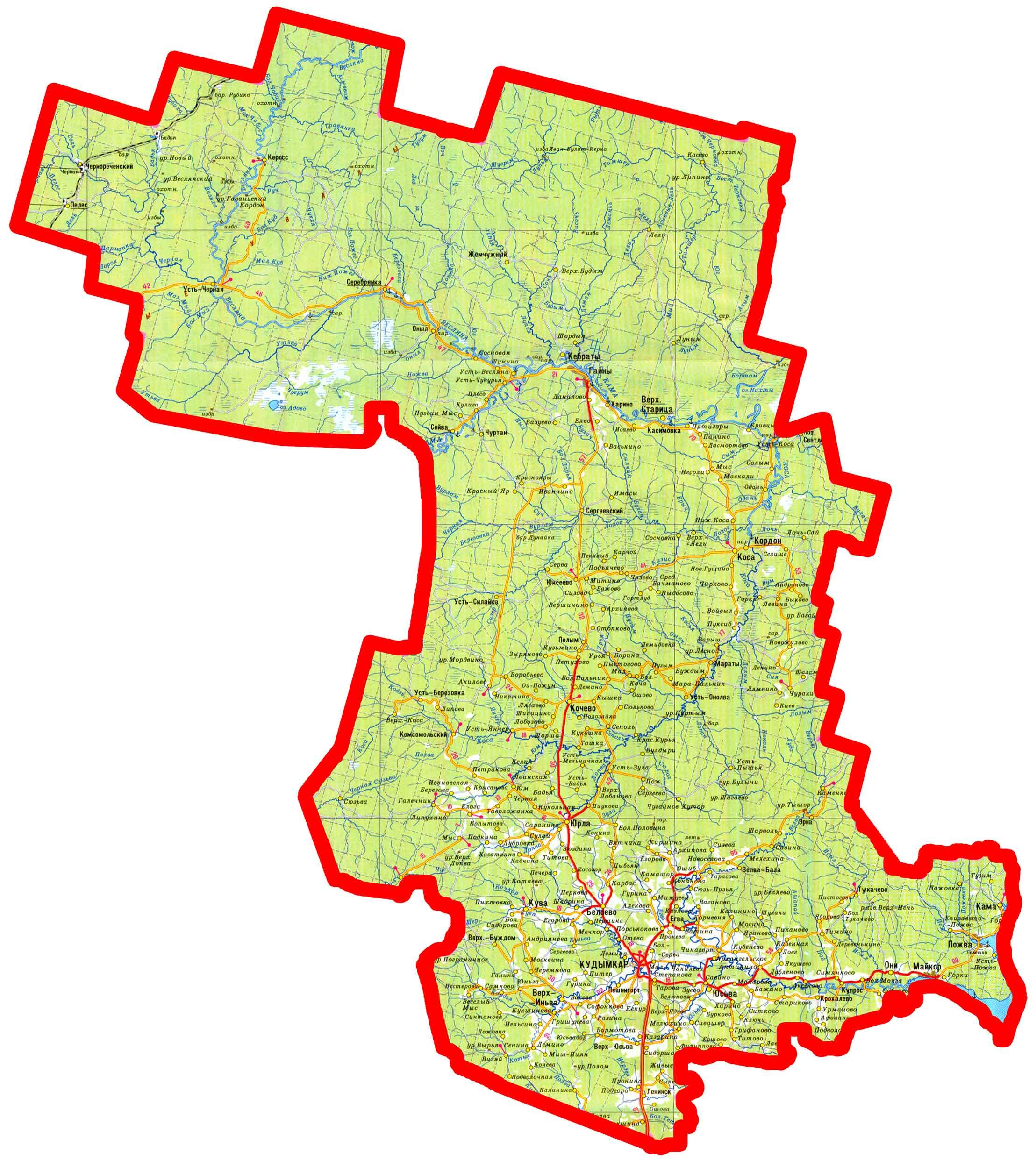 Карта коми-пермяцкого округа. Высокое разрешение.